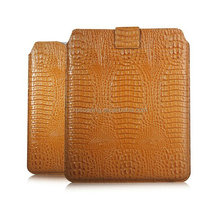 Crocodile skin Genuine leather case pouch bag for ipad 3 , Straight leather case for ipad 4