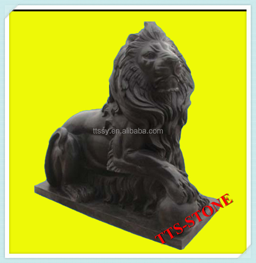 Large outdoor black marble lion statue