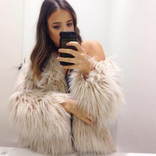 2017of the new winter long Europe and USA hot sale imitation fur coat long sleeve