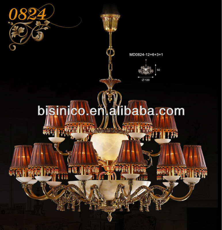 Marble and copper carved candle pendant lamp, royal chandelier pendant lamp lightings, classical hotel lightings
