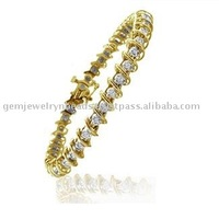 Indian Latest Handmade Design 14k Yellow Gold Solitaire Diamond Bangle Bracelets