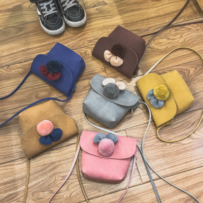 Korean Fashion Children Nubuck Leather Bags 2017 Autumn Winter Mini Messenger Bag Kids Girl Flower Pom Pom Balls Shoulder Bags