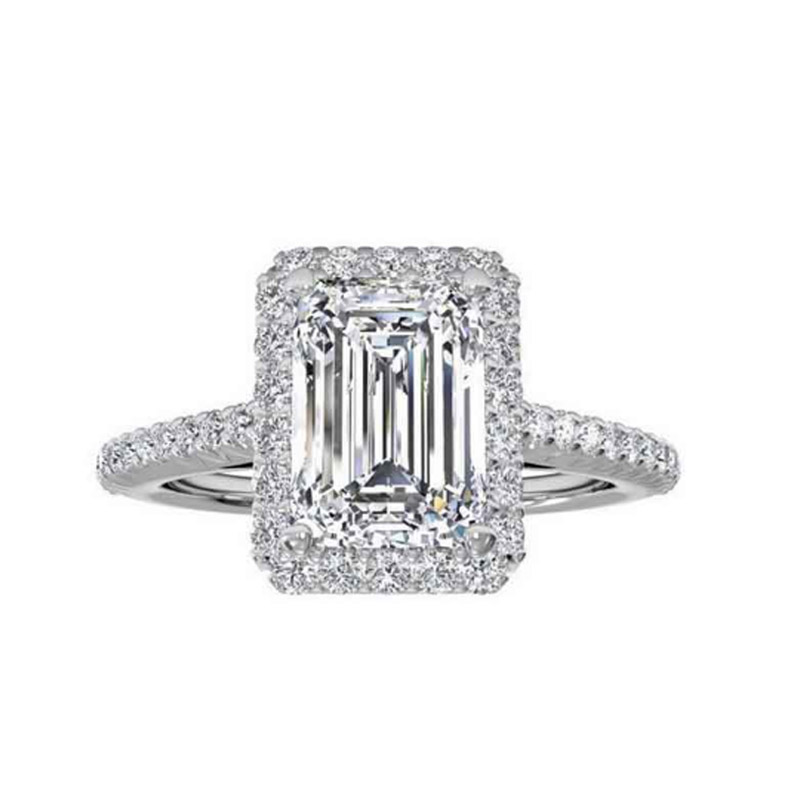 Silver 925 Emerald Cut CZ Diamond Engagement Wedding Ring For Women Jewelry AR1997S