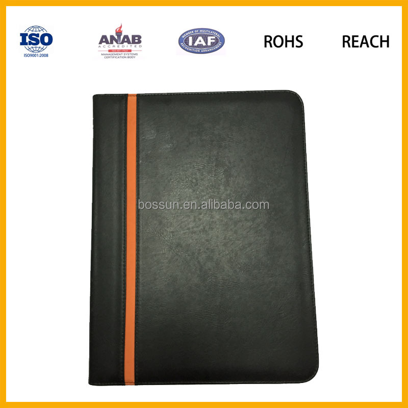 china supplier A4 leather compendium/PU portfolio/file folder with customized LOGO