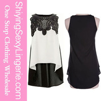 Sexy Women High Low Hem Lace Sleeveless Blouse