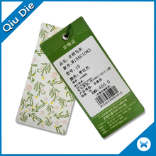 Custom fancy garment hole punch hang tag and clothing hang tag