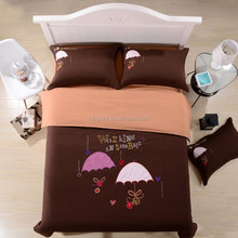 2015 New Reactive Microfiber Fabirc Embroidered 4pcs Duvet Cover Set Carton Skin-Friendly Bedding Set Factory Direct Sales