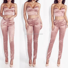 Silk fabric strapless vest and long pants set two pieces suit