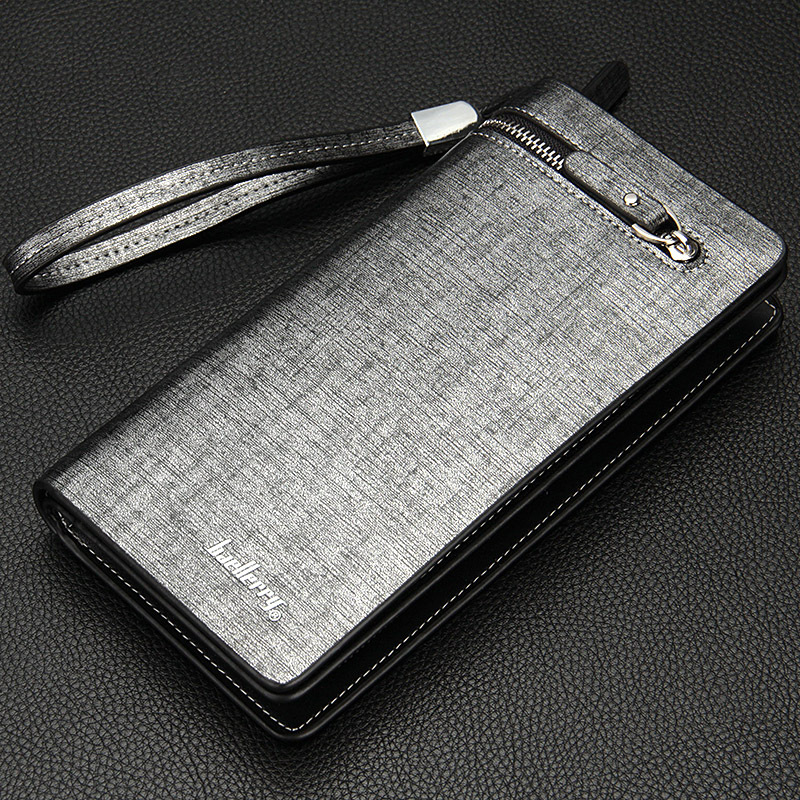Factory wholesale Baellerry business casual men's long zipper wallet with handle multi function clutch bag handbag