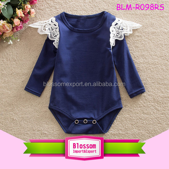 Blossom Pure White Baby Girls Lace Flutter Shoulder Long Sleeve Baby Infant Toddler Rompers Onesie