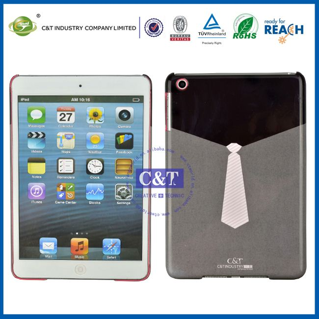 C&T Black gray plastic white tie for ipad mini back cover