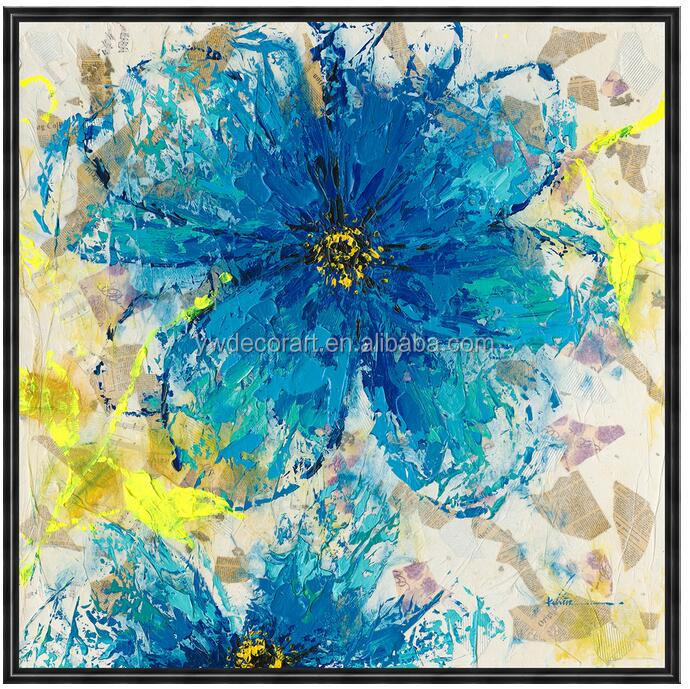 2016 Newest Design Hand paint Blue Flower Oil Painting Framed Ready to Hang abstract painting for wall decoration