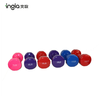 Colorful Vinyl Neoprene Coated Dummbell Weight Lifting Rubber Hex Dumbbell