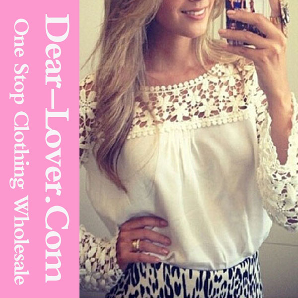 White Floral Croche Lace Long Sleeve 2015 New Models Chiffon Blouse Ladies