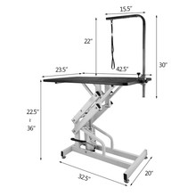 Hydraulic Grooming Table 42.5x23.6Inch Z-Lift Hydraulic Pet Grooming Table Adjustable Height Dog Grooming Table with Arm 1 Noose
