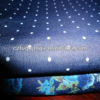 4.5OZ cotton flower printed denim fabric