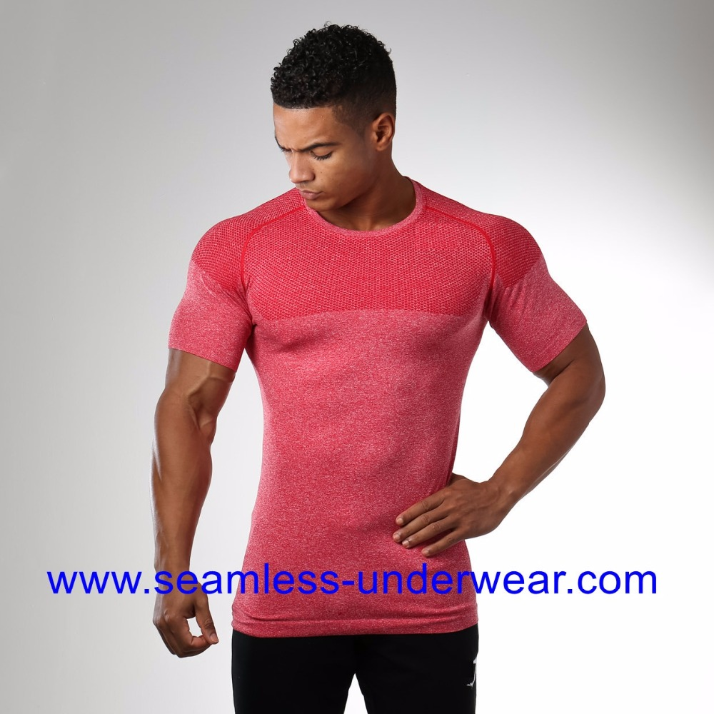 Men's 3D Knitted Sports Dry Fit Gym Shirts Compression Fitness Seamless T Shirt