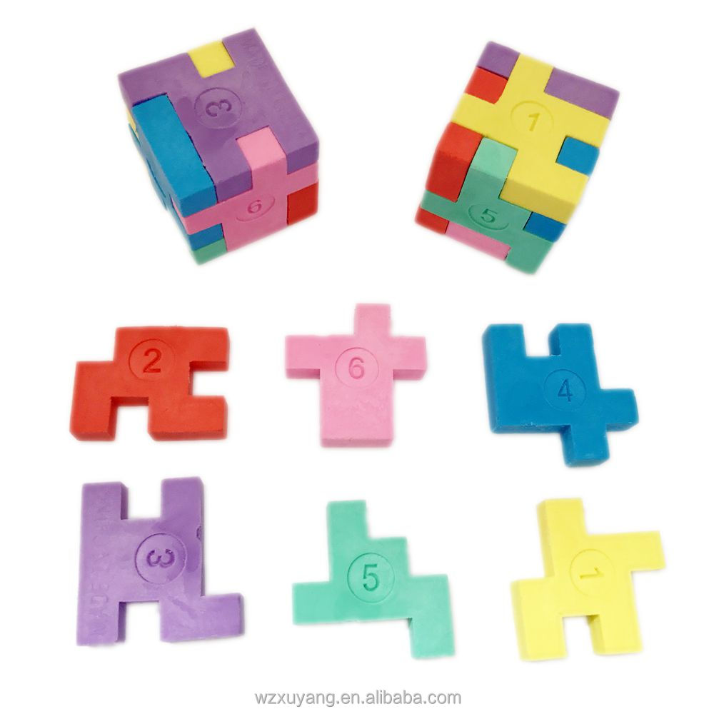 3D puzzle cube magic rubber student pencil eraser ,schools stationery