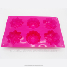 6 Cavity Silicone Flower Soap Mold Sunflower Mixed Flower shapes Cupcake Backing mold Muffin pan