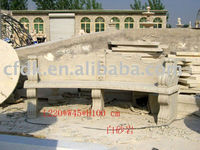 Simple carved marble garden stone bench
