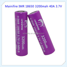 Mainifire IMR 18650 3200mah 40A 3.7V rechargeable battery with flat top(1 pc)