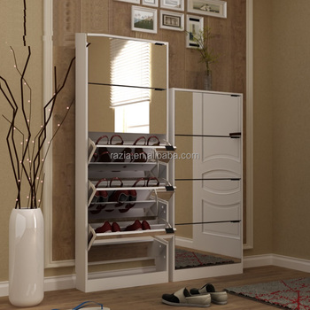 KD flat pack melamine 5 door 4 door shoe cabinet with mirror
