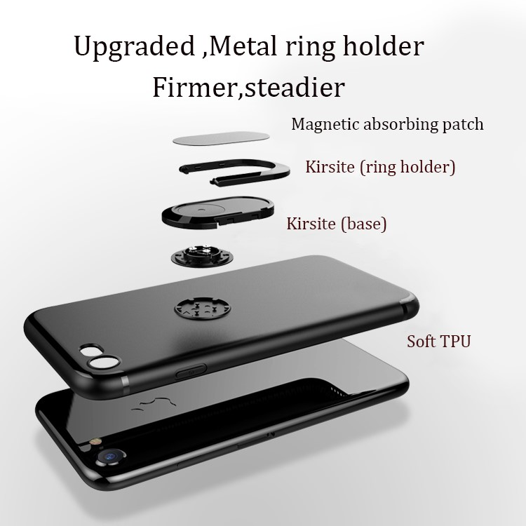 DFIFAN Ring Holder Kickstand Shell Case for Apple iphone 8 8 plus , mobile covers for iphone case with stand