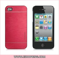 motomo Wire Drawing Plastic Case for iphone 4 4S Red