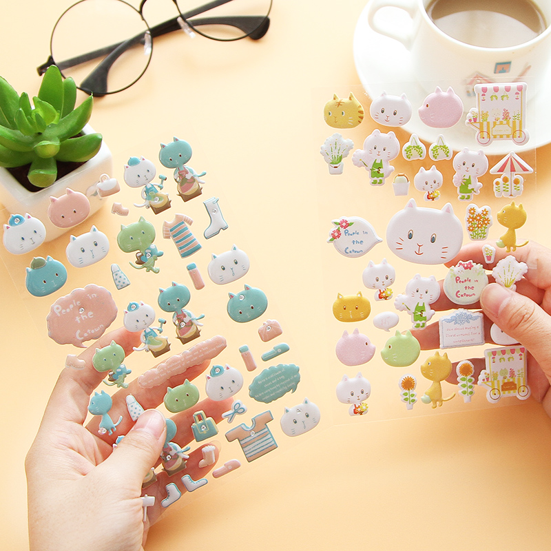 Three-dimensional Lovely Cartoon PVC Stickers