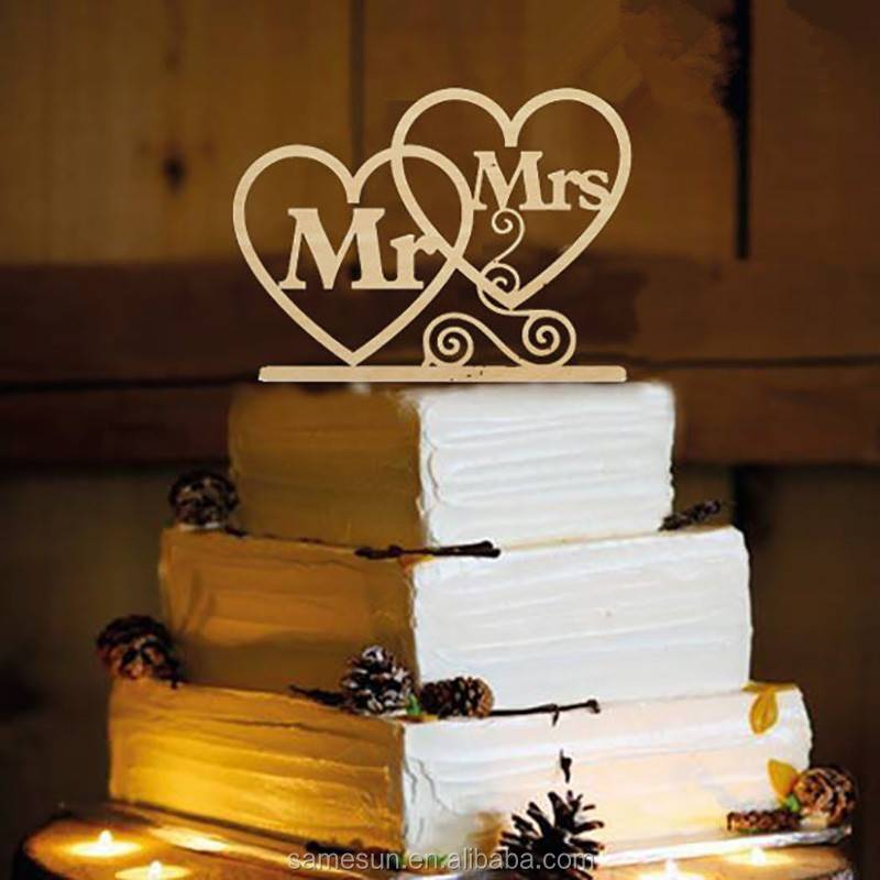 Mr & Mrs Shaped Wedding Laser Cut Wooden Cake Topper