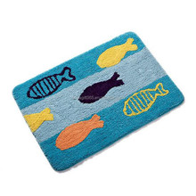 Door Mats Blue Fish Rug Carpet Water-absorbing Bathmats Kitchen Toilet Non-slip Rugs Mat