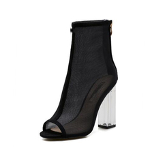 New Sandals Shoes Women Latest Ladies Peep Toe Clear Heel Boots Lady mesh fabric Chunky High Heel Ankle Boots