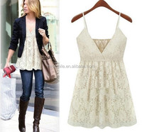S30693A WHITE LACE EMBROIDERED FREE CROCHET SEXY LADIES VEST