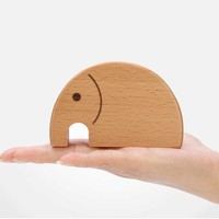 Organic Wooden Toy Waldorf Wood Animal Toy Natural Elephant Toy for Babies and Toddlers