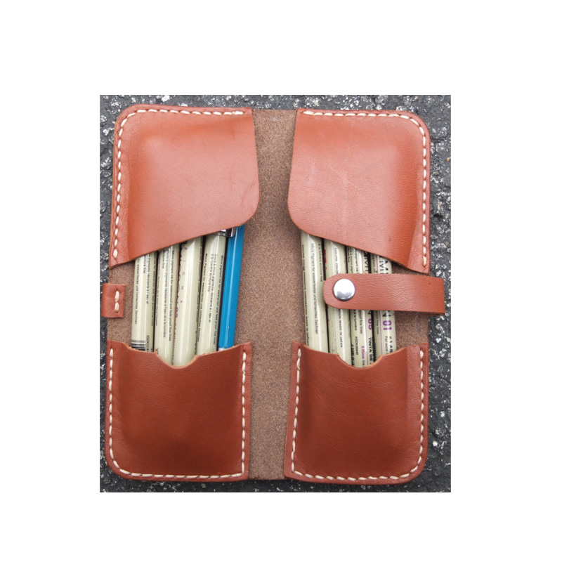 wholesale cheap price genuine leather customized folding pencil case for kids