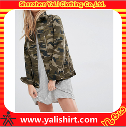 OEM wholesale custom camo women high quality jacket with button