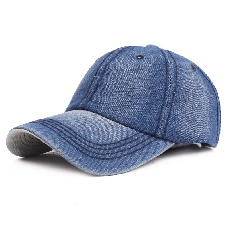 Factory price small order 6-panel plain wash denim cap jeans unstructured dad <strong>hat</strong>