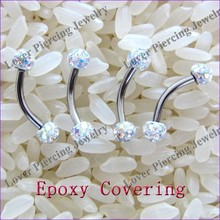 Epoxy Covering Crystal Balls High Polish Steel Unique Eyebrow Rings [FC-824]