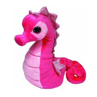 pink cute plush seahorse stuffed animal with big eyes