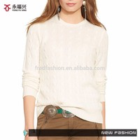 Latest design white crew neck ladies sweater design/lady sweater