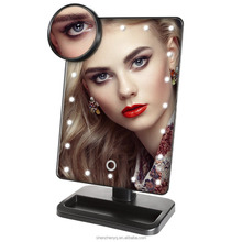 20 LED Battery Operated Cordless Touch Screen Lighted Vanity Cosmetic Mirror Makeup Mirror with LED Lights 10x Magnify