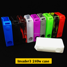 331332 factory direct sales New Design Tesla invader 3 240W box Mod rubber silicone case/sleeve /silicone sticker