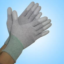 PVC dotted carbon fiber ESD gloves PVC dotted pu finger coated work gloves