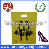 yellow plastic shopping printed patch handle bag for shopping