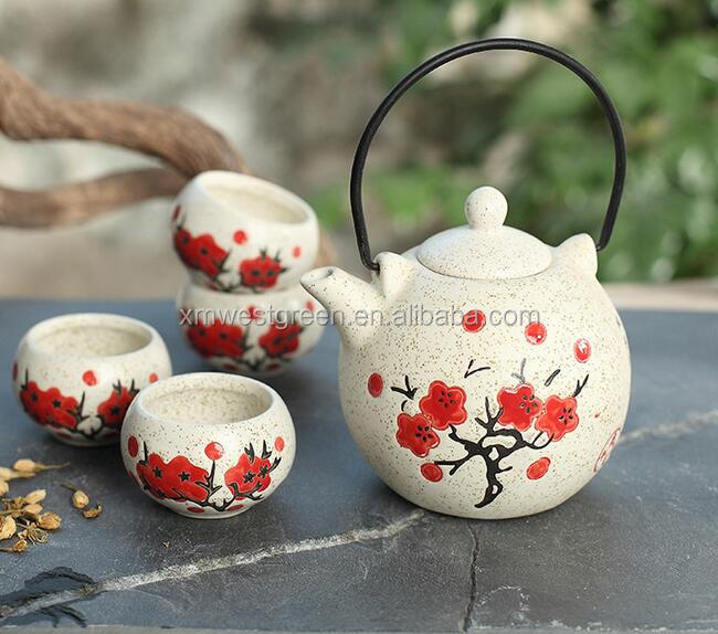 CTS-014 Japanese style ceramic painted pots & cups, 5pcs of a set