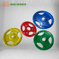 China Olympic Rubber Coated Cast Iron Barbell weight Plate