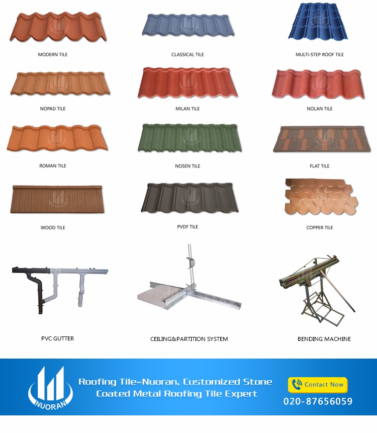 Nuoran stone coated roofing metal tiles
