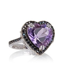 Fine Jewelry with Carol Brodie Gemstone Heart and Black Spinel Sterling Silver Ring