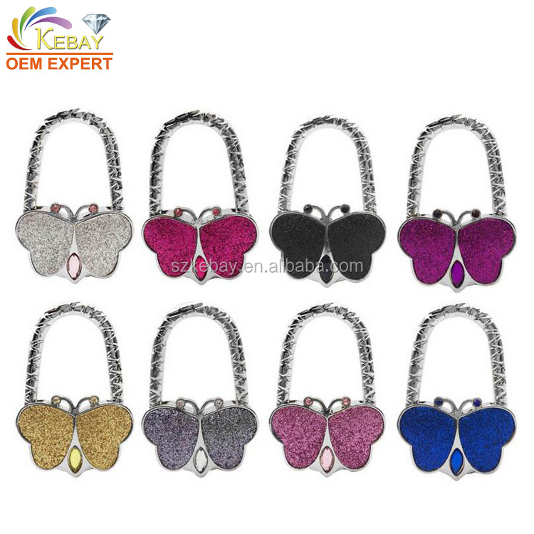 Folding butterfly purse hook foldable purse hooks for tables