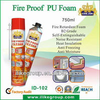 Flame proof sprayed polyurethane foam